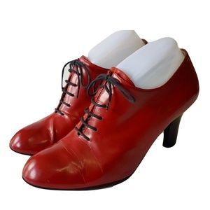 Fratelli Rosetti Lace Up Red Booties Steampunk 7.5